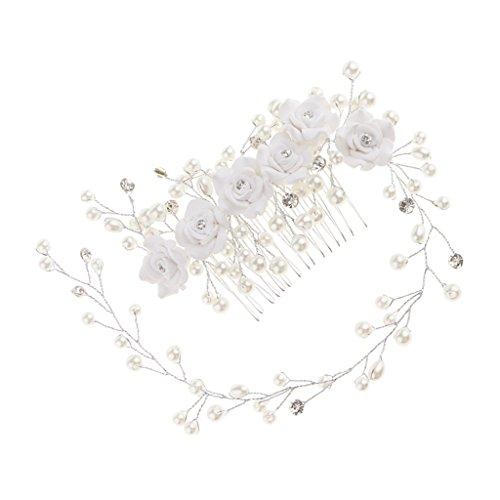 Baoblaze Kristall Strass Blume Perlen Haarkamm Haarkämme Haare Kämmen Mädchen Frau Party Kopfschmuck Hochzeit Haarschmuck - Rose Blumen