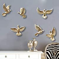 zenggp Resin Birds Figurine Wall Decorative Home Decoration Accessories,Animal Ornaments Furnishing,Gold
