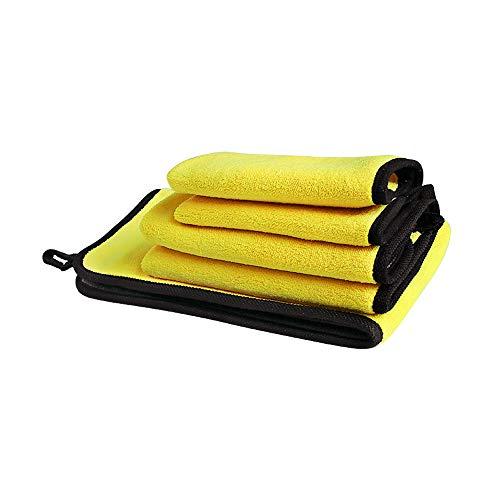 3 Pack Mikrofaser Reinigungstücher, 850GSM Fusselfreies Doppelschicht Ultra Starkes Auto Polier Detaillierungstuch/Super Saugfähiges Silk Kanten Auto-Waschen, das Trocknendes Tuch Einwächst -