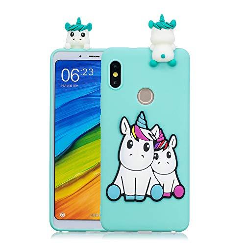 Rose-Otter Compatible pour Housse Coque Huawei Honor 8A / Y6 Pro 2019 / Y6 2019 Etui Silicone TPU Gel Ultra Fine Slim Antichoc Bumper Cover avec 3D Motif Licorne Bleu