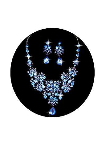 L_shop Shining Butterfly Große Wassertropfen-Schmuck-Set Halskette Ohrhänger Schmetterling Filigrane Anhänger Halskette, Legierung Strass, blau