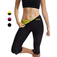 FITTOO Damen 3/4 Neopren Schwitzhose Zum Training, Figurformende Capri für Yoga Joggen Fitnesshose
