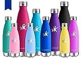 KollyKolla Vakuum Isolierte Edelstahl Trinkflasche, 500ml BPA Frei Wasserflasche Auslaufsicher, Thermosflasche für Sport, Outdoor, Fitness, Kinder, Schule, Kleinkinder, Kindergarten (Navy Blau)