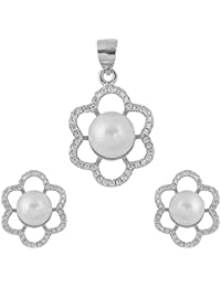 Rose Ingot White Pearl Pendant & Earrings Set For Women & Girls Crafted In 92.5% Pure Sterling Silver & Diamonds