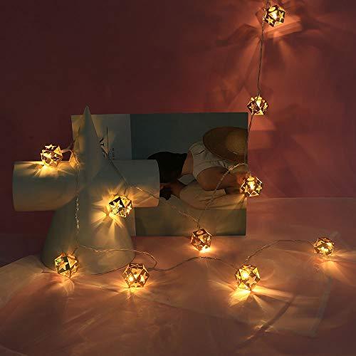 Lichterkette,FeiliandaJJ 1.5M 10LED Gold Romantisch Lichterkette LED Licht Hochzeit Party Halloween Innen/Außen Haus Deko String Lights 2 x AA Batterien (Weiß) - Kunststoff-handwerk String