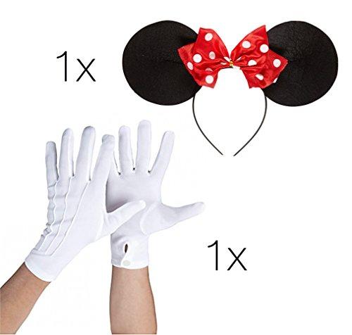 Maus Set Kostüm - 1x Haarreif Haarspange Haar mit Ohren Mini Maus und 1x Paar Handschuhe weiß mit Knopf für Maus Mini Kostüm Damen an Fasching Karneval (Kostüm Minnie Maus Damen)