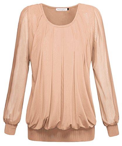 BAISHENGGT Damen Langarmshirt Rundhals Falten Shirt Stretch Tunika Apricot XL