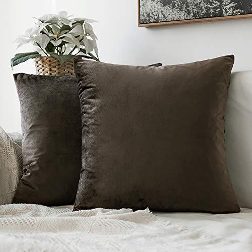 MIULEE 2er Set Samt Soft Solid Dekorative Quadrat Wurf Kissenbezüge Set Kissen Fall für Sofa Schlafzimmer Auto 16x16 inch 40x40 cm Dunkle Taupe -