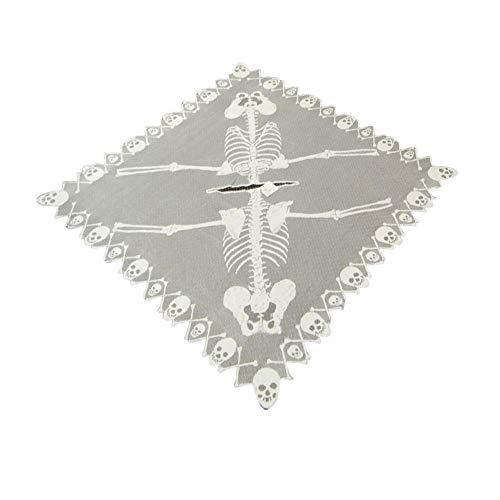 JinYiZhaoMing Skelett-Poncho mit Spitze und Totenkopf-Spinnennetz, Halloween-Party, Kostüm-Dekoration, - Spinnennetz Kostüm Poncho