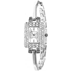 Rectangular watch Silver So Charm Made with Swarovski Crystal from