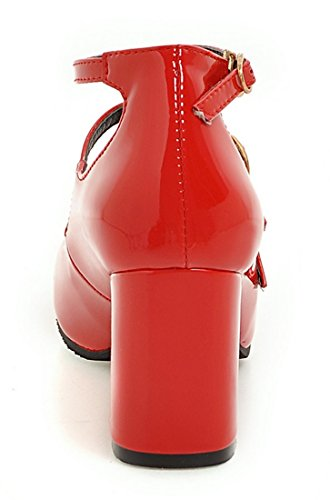YE Damen Knöchelriemchen Chunky High Heels Lack Leder Pumps mit Blockabsatz und Schnallen Geschlossen 7cm Heels Moderne Elegant Schuhe Rot