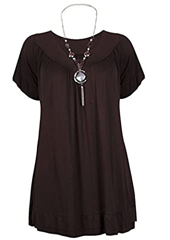 Womens Plus Size Frill Necklace Gypsy Ladies Tunic Short Sleeve Long V Neck Tops (12-18) (UK SIZE 12, DARK