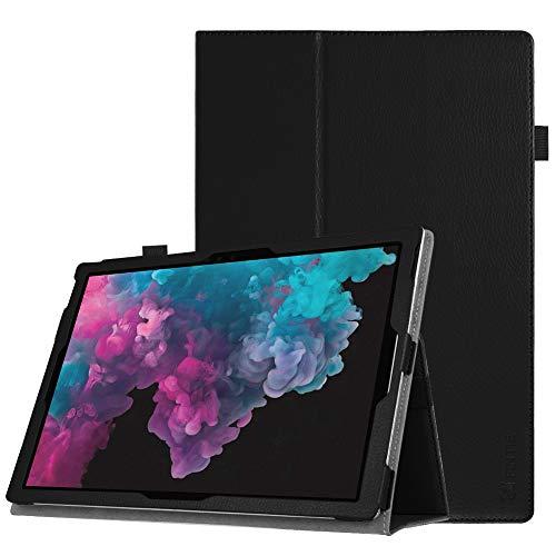 Fintie Microsoft Surface Pro 6 Hülle - Slim Fit Kunstleder Stand Schutzhülle Cover mit Stylus-Halterung für New Surface Pro 6 / Pro 2017 / Pro 4 / Pro 3 (12,3 Zoll) Tablet-PC, Schwarz