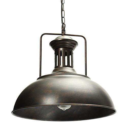 AOGUERBE Lampenschirm Pendelleuchte Vintage Hängeleuchte Retro E27 Deckenleuchte Industrielle Kronleuchter Regenschirm Deckenlampe für Loft Wohnzimmer Esszimmer Cafeteria Restaurant Flur Café [Rost]