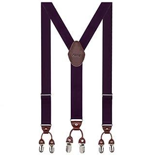 Aissy Herren Hosenträger Breit 6 Clips mit Leder in Y-Form/Extra Starken 35mm Elastisch und Längenverstellbar in Verschiedenen Farben Designs für Männer und Damen Hose Lila