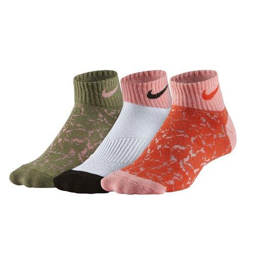 Nike Kinder Yth NK Performance Lightweight Cotton 3PR-Graphic Low Cut Socken für Ältere Drei Paar, Olivbraun/Schwarz/Rot/Rosa/Weiß, S (Nike-jungen Rosa Socken)
