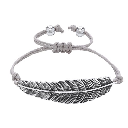 Front Row Silver Colour Feather and Grey Cord Bracelet