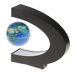 Baoblaze Globo Flotante de Mapa de Mundo C Shape de Levitación Magnética con Luz Adornos de Casa de Oficina – Enchufe UE