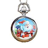 Kakiyi Weihnachten Design Männer-Frauen-Uhr-Quarz-runde geformte Taschen-Uhr-Mädchen-Feiertags-Geburtstags-Geschenke