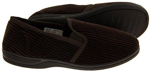 Footwear Studio Herren Elastischer Seitenfalte Komfort Pantoffeln Braun