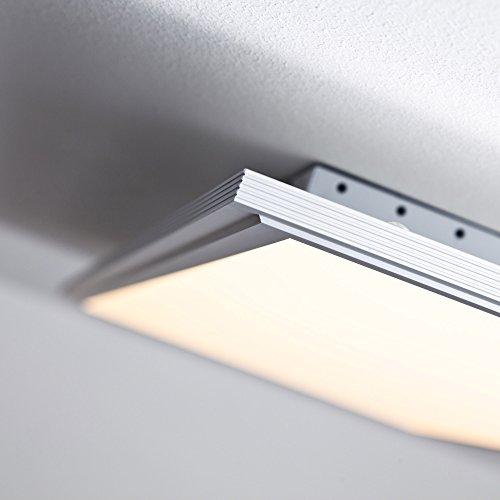 LED Panel 60W Deckenleuchte, 100 x 35 cm eckig, inkl. Fernbedienung dimmbar, 5.000 Lumen, dimmbar, 2700-6500K, Metall / Kunststoff, alu / weiß