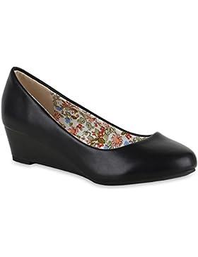 Damen Pumps Lack | Velours Leder-Optik | Strass Keilpumps | Wedges Schuhe Metallic| Party Hochzeit Abiball | Brautschuhe...