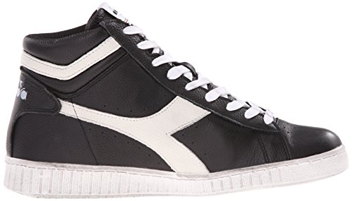 Diadora Game L High Waxed, Pompes à plateforme plate mixte adulte Nero / Bianco Nuvola