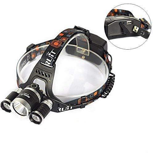 Boruit Lampe Frontale Ultra Puissante Rechargeable et Etanche 6000 Lumen 3 x XM-L2 T6 LED Headlamp pour Camping Pêche Cyclisme Course à pied Randonnée Chasse Vélo Plein air - Chargeur EU