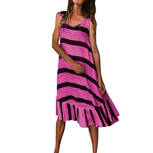 MMOOVV Kleid Frauen neueste Größe lose ärmellose gestreiften Druck lässig Land Rock Party Hochzeit Strandkleid (Hot Pink 3XL)