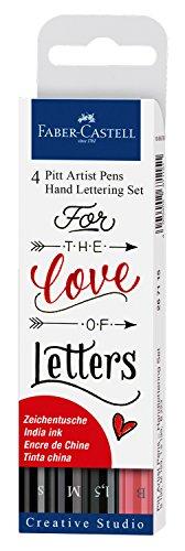 Faber-Castell 267115 - Tuschestift Pitt Artist Pen Lettering, 4er Etui Love