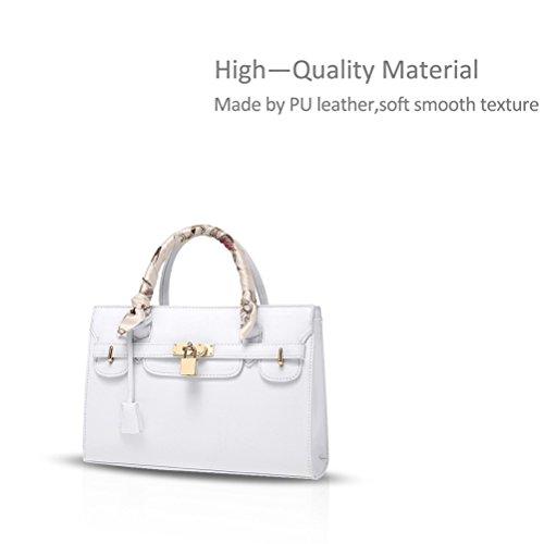 Honeymall borse tracolla donna Pelle Sintetica Superiore Maniglia Cartella Bianca Bianco