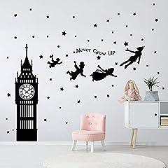 Idea Regalo - decalmile Adesivi Murali Peter Pan Big Ben Stelle Adesivi da Parete Bambini Frase Decorazione Murale Cameretta Bambini Asilo Nido