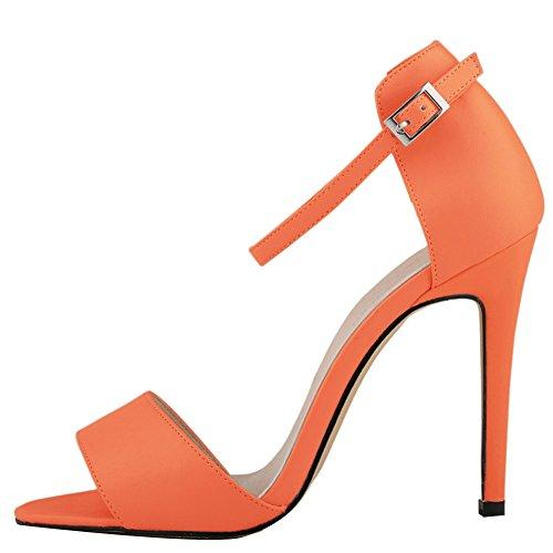 fereshte Damen Ankle Strap Hohe Stiletto-Absatz Büro Sandale 14Farben Orange/Rot
