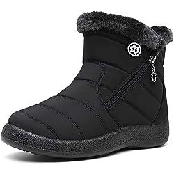 Gaatpot Zapatos Invierno Mujer Botas de Nieve Forradas Zapatillas Botines Planas con Cremallera Negro 40.5 EU/42 CN