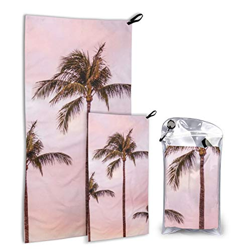 Quick Dry Microfiber Camping Towel Set For Hike, Travel, Camp, Backpacking - Large 140cm x 70cm - Small 80cm x 40cm - Soft, Super Absorbent, Free Carry Bag,Palm Tree Landscape Sunset Unicorn