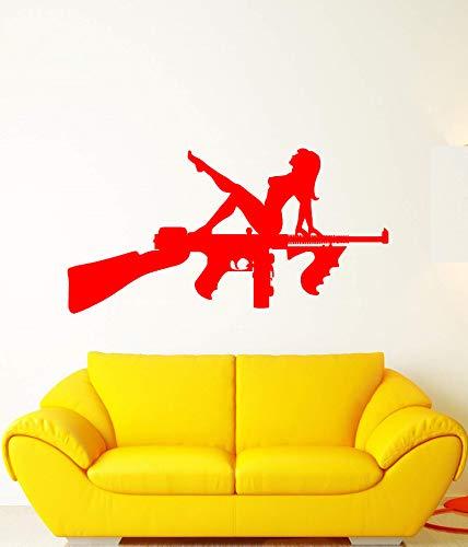 guijiumai Mur de Vinyle Applique Assault, Fusil Arme Arme Nue Fille Autocollant, Arme, Sticker Mural, décoration de Salon Maison Q 1 82x42cm
