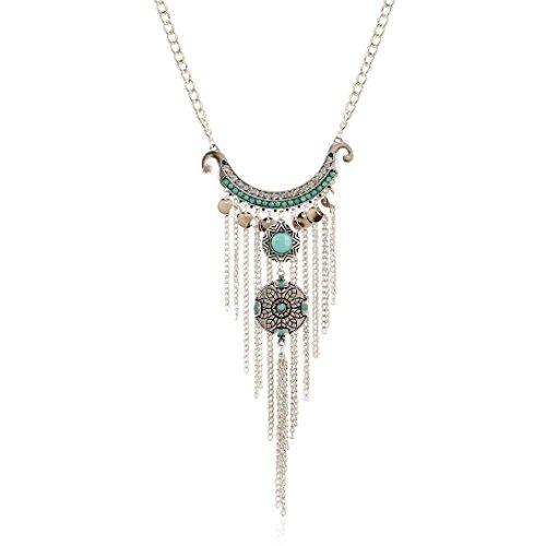 Angelof Gypsy Bohème Style Pompon Turquoise Longue Chaîne Collier Pendentif