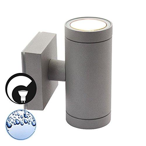 LED Wandleuchte / Wandlampe / Außenleuchte / Up Down / 2-Flammig / Aluminium / Grau / Form:B / IP44 / GU10-230V (DIMMBAR / Warmweiß)