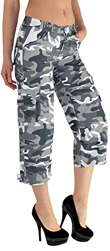 by-tex Caprihose Damen Capri Hose Damen Bermuda Shorts kurze Jeans Hose Capri - Shorts Damen Cargo