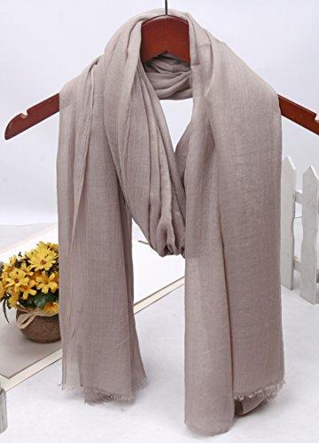 YRXDD Wrinkled Baumwolle und Leinen Schal große Lange Punkt Normallack Schal Dame (100 * 200cm), Bohnen Sand grau