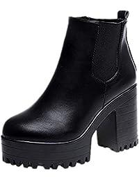 Weant Chaussures Femme Bottes Bottines Femme Leather Boots Femmes Bottes  Plates-Formes à Talon carré 86cfd7c2b7b