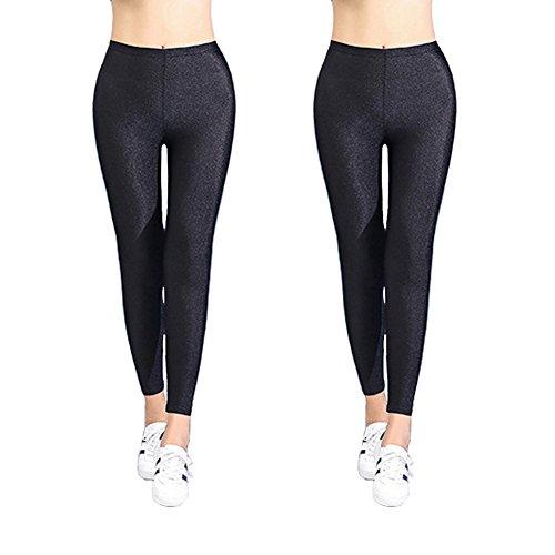 Confezione da 2-Nero Leggings Donna Ragazze Sexy Tight Legging-donna lunghezza intera lucido, Pantaloni aderenti Black Large