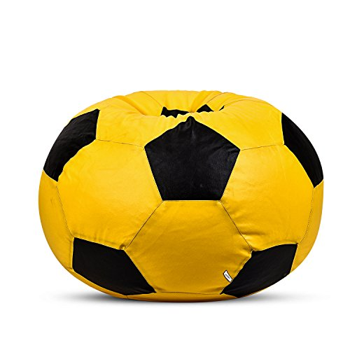 Tik Toc Rexine Leather Yellow & Black Football Bean Bag Cover [Size:- XXXL]  available at amazon for Rs.699