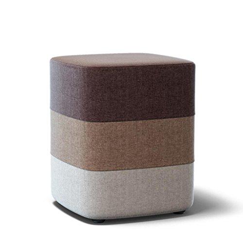 Kitzen Kreativ Mode Holz Stoff Wechselnde Schuhe Hocker Schemel Sofa Hocker Tee Tischhocker Runder Hocker Kleine Bank , rainbow stool square brown 33*33*35cm Gute Qualität