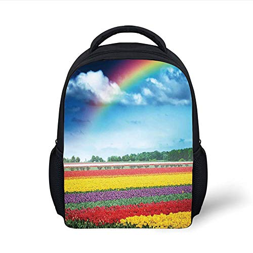 Kids School Backpack Country Decor,Rainbow Over Multicolor Tulip Field Blooms Distant Forest at Spring Time Holland, Plain Bookbag Travel Daypack