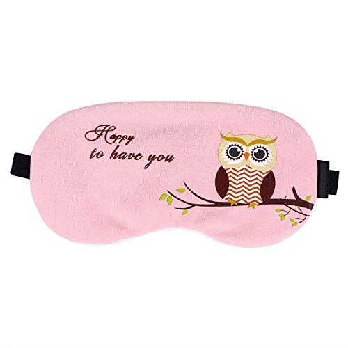ROSENICE Algodón y lino Eye Sleeping Mask Blinder Patch Ajustable Correa Eyeshade con Cold / Hot Gel para aliviar el estrés Eliminar Puffy Eye Dolor de cabeza para Hombres Mujeres Niñas Niños (Rosa)