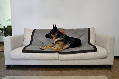 Protección para sofás antiolores, antipelo, antimanchas e impermeable para mascotas, 150 x 150 cm, color beis con bordes de seda.