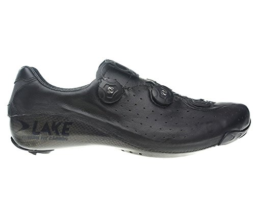 Lake cx402 CFC Road Schuhe Schwarz (Weite Passform), Wide Fit (Leder-plattform Perforierte)