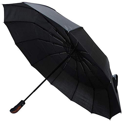 Collar and cuffs london - raro 12 bacchette 80 km/h - robusto e antivento - struttura rinforzata con fibra di vetro - ventilato doppio calotta - ombrello pieghevole - automatico apri e chiudi- nero