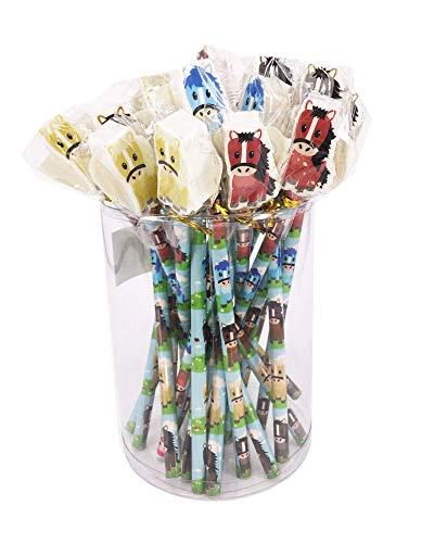 24 matite hb dai colori vivaci con gomma da cancellare di forma grande. ideale come regalo di fine anno, regalo per studenti o per riempire la calza della befana.